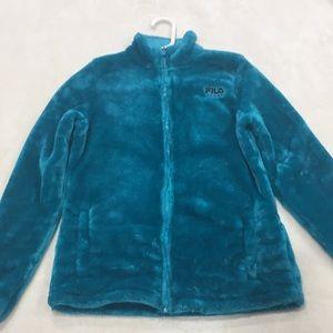 Fuzzy Teal Fila Sports Jacket